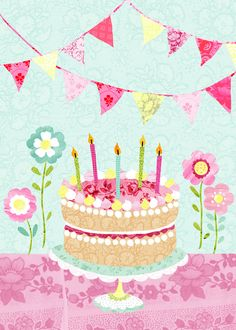 'Birthday Cake and Bunting'. A greetings card design by Imogen Hudson Happy Birthday 1, 3d Birthday Card, Birthday Clipart, Wife Birthday, Happy Birthday Quotes, Happy Birthday Greetings, Birthday Messages, Birthday Pictures, Birthday Images