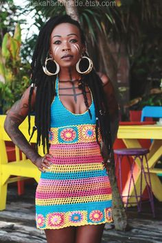 Pastel Icecream crochet halter dress - OOAK Beach Festival Dress