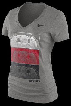 Nike  Ohio State  Womens Mascot Triblend Tee OSU Brutus Buckeye Scarlet&Grey
