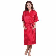 Plus la Taille S-XXXL Rayonne Peignoir Femmes Kimono Satin Longue Robe Sexy  Lingerie Classique 46dd97f2b0f