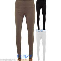 Womens Disco Pants High Waist Zip Back Pocket Leggings Full Length Jeggings 8-14