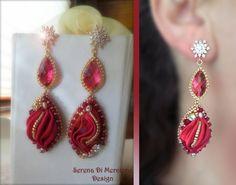 Earring - Designed by Serena Di Mercione - Red shibori silk