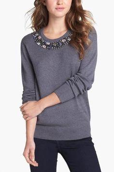 Cute, Grey Embellished Neckline Sweater