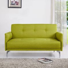 Take that, Kermit. Dimensions: 32'' H x 55.2'' W x 32.5'' D. Promising review: 'Love our new loveseat! It has just the right amount firmness, and is exactly the bright green color that the picture portrays. It's a perfect size and just what we were looking for to minimize the furniture in our living room.' —RNaomiGet it from Wayfair for $214.07. / Available in three other colors.