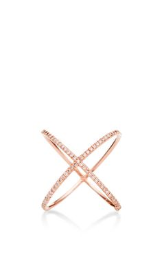 18K Rose Gold and Pink Diamond X Ring by Eva Fehren