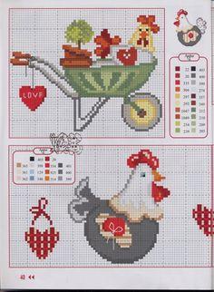Chicken Cross Stitch, Mini Cross Stitch, Cross Stitch Borders, Cross Stitch Animals, Cross Stitch Charts, Cross Stitch Designs, Cross Stitching, Cross Stitch Embroidery, Embroidery Patterns