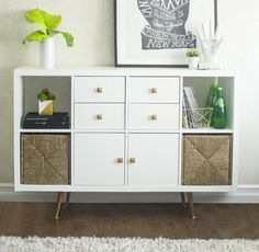 13 Genius IKEA Kallax Hacks for Lots of Storage — Amanda Katherine - - These clever IKEA Kallax hacks will give you unique and stylish ways to organize every room in your home. You would never guess these chic pieces are from IKEA! Ikea Kallax Bookshelf, Etagere Kallax Ikea, Diy Kallax, Ikea Kallax Unit, Kallax Shelving Unit, Ikea Kallax Hack, Ikea Shelves, Ikea Regal, Ikea Kallax Regal