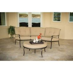 Hanover Outdoor Furniture Traditions 2 Piece Patio Seating Set With Natural  Oat Cushions