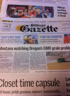Today's paper.  Note-the wheat was test planted in 2005! We must fight to keep the gmo wheat out of mt-protect our economy. Although it might be too late, they are testing in Gallatin county.