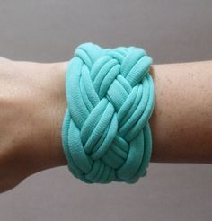 Fabric Bracelet  Seafoam Green TShirt Bracelet   by urbancreatures, $15.00