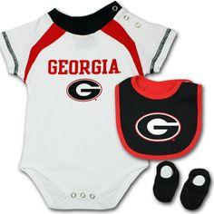 9b5e789e4 Bulldogs Newborn Creeper, Bib and Bootie Set #UGA #Georgia #Bulldogs #Baby