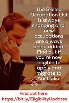 The Skilled Occupation List is always changing and new occupations are always being added. Find out if you're now eligible to apply and migrate to Australia. Find out here: Always Be, How To Apply, Australia, Ads, Change