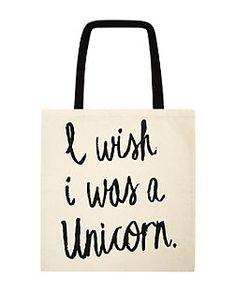 Sac blanc en toile « I Wish I Was A Unicorn »   New Look