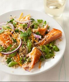 Simple Salmon, Quinoa, and Spinach Salad