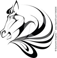 Royalty Free Vector Clip Art Illustration Of A Black And White Horse Head Logo 1 by Seamartini Graphics Horse Stencil, Stencil Art, Stencils, Horse Head, Horse Art, Horse Sketch, Clip Art Pictures, Horse Logo, Horse Drawings