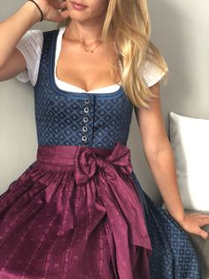 """Our Dirndl Rosi """"Blueberry Jam"""" enchants you with a double velvet border at the neckline and a super sweet peplum! 💕🥨 This fits our cotton blouse """"Babsi"""" 🍻 rnrnSource by cocovero Blouse En Coton, German Costume, Oktoberfest Outfit, Dirndl Dress, Bohemian Style Clothing, Blueberry Jam, Cotton Blouses, Traditional Outfits, Dress To Impress"""