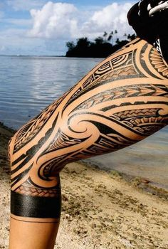 Polynesian Shark Teeth With Spear Head Tribal Tattoos
