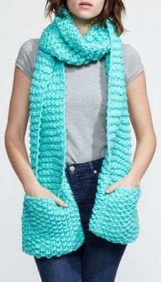 Mint Scarf w/ Pockets to keep your Hands Warm L. Mint Scarf w/ Pockets to keep your Hands Warm L. Crochet Scarves, Crochet Shawl, Crochet Clothes, Crochet Stitches, Knit Crochet, Knit Cowl, Crochet Granny, Hand Crochet, Loom Knitting Projects