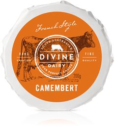 Divine Dairy Cheese is hand crafted cheese by Saul & Sheree Sullivan. French style cheeses are made with locally sourced certified organic biodynamic milk. The packaging communicates that same connection with farm and cow.