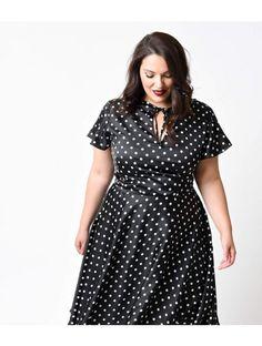 Unique Vintage Plus Size Black & Ivory Dot Formosa Swing Dress