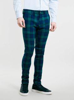 Tartan trousers with dark suit