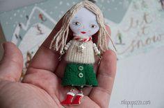 Christmas Tiny Girl Art doll brooch mixed media by miopupazzo