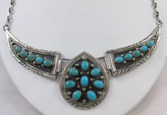 VINTAGE RONNIE WILLIE NAVAJO STERLING SILVER & TURQUOISE SAW TOOTH SET NECKLACE #RonnieWillie