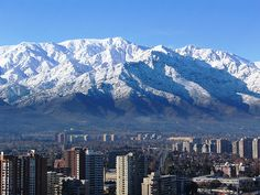 Santiago, Chile with its beautiful mountains: The Andes Places To Travel, Places To See, Andes Mountains, Easter Island, World Heritage Sites, Beautiful Landscapes, South America, Tourism, Around The Worlds