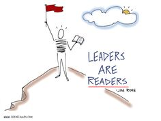 """""""Leaders are Readers.""""  A favorite quote on leadership by Jim Rohn.  Sketchnotes by Lisa Nelson of seeincolors.com"""