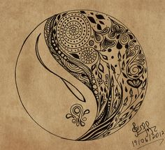 Yin yang doodle by gisellemendes on DeviantArt Doodles Zentangles, Zentangle Patterns, Textile Patterns, Yin Yang Tattoos, Zen Doodle, Doodle Art, Yen Yang, Tangle Art, Doodle Inspiration