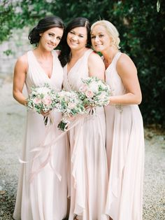 not the color, but the style! Soft pink bridesmaids dresses | Elegant Dromquinna Manor wedding by Into The Light Photography | www.onefabday.com