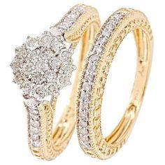 3/4 Carat Diamond Bridal Wedding Ring Set 14K Yellow Gold $779.99