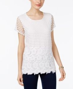 Inc International Concepts Petite Crochet Layered-Look Top, Only at Macy's - White P/XS