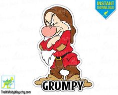 Grumpy Snow White & the 7 Dwarfs Printable Iron On Transfer or Use as Clip Art - DIY Disney Shirt Matching Shirts Seven Dwarfs Vacation by TheWallabyWay on Etsy