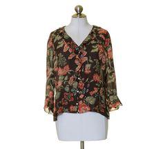 Jones New York Brown Red Green Floral Ruffle Trim Silk Blouse Size L #JonesNewYork #Blouse #Casual