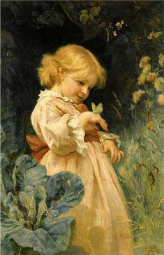 Hans Zatzka (1859 – 1945, Austrian) Girl With Butterfly