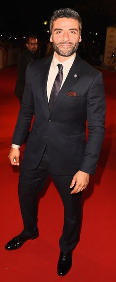 On the red carpet at the premiere of The Promise, actor Oscar Isaac in Burberry tailoring at the Toronto Film Festival
