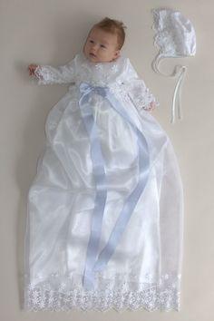 /ÓLI PRIK COPENHAGEN Baby Junge Hellblaues Unterkleid Taufkleidung Baumwolle