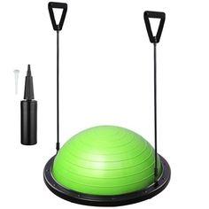 AW Green Yoga Balance Ball w/ 2 Elastic Strings Fitness Strength Exercise Half Ball Balance Trainer Balance Trainer, Resistance Loop Bands, Yoga For Balance, Bosu Ball, Yoga World, Stability Ball, Blue Pumps, Strength Workout, No Equipment Workout