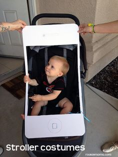Iphone Stroller Costume by Rookie Moms and Other Great Quick and Easy Halloween Costume Ideas Stroller Halloween Costumes, Stroller Costume, Halloween Costumes You Can Make, Halloween Bebes, Baby First Halloween, Toddler Halloween, Halloween Diy, Costume Halloween, Halloween Makeup