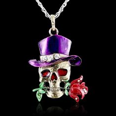 Retro Silver Jewelry Necklace Pendant Skull Flower Crystal Sweater Chain Fashion #Unbranded #Pendant