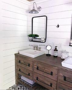 DIY vanity (plans available via link in Instagram bio), shiplap, barn light sconces, metal mirrors