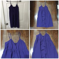 purple ruffle dress NEW WITH TAGS. NEVER WORN. No damage. Lining included. 100% polyester. Rich purple color. GAP Dresses