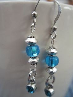Blue Glass Bead and Silver-Plated Accent by BeadazzlingButterfly