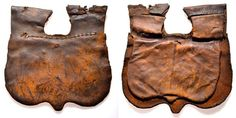 """The front flap (24x24 cm) of this late medieval girdle purse cowhide is slightly larger than the compartment behind it. The discovery came in 1976 from the ground to the Torenstraat in Dordrecht. On pages 18 and 24 of the book Purses in Pieces """"Olaf Goubitz the stock market briefly described."""