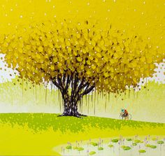 (Vietnam) Golden season by Phan Thu Tran ). oil on canvas. Illustrations, Illustration Art, Yellow Tree, Plant Art, Art For Art Sake, Drawing People, Art Pictures, Color Inspiration, New Art