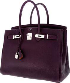 Luxury Accessories:Bags, Hermes Special Order Horseshoe 35cm Raisin & Orange H TogoLeather Birkin Bag with Palladium Hardware. ... Image #3