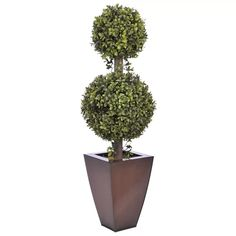 Gracie Oaks Faux 2-Ball Boxwood Topiary in Planter & Reviews   Wayfair
