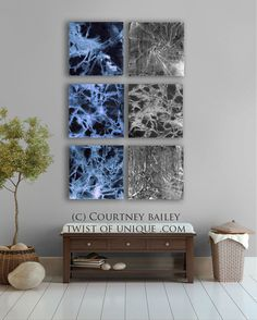 Dark colors abstract painting, 6 square CUSTOM abstract Wall art,  Large abstract artwork,  Blue, black.