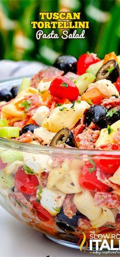 Tuscan Tortellini Pasta Salad recipe is bursting with your favorite Italian fixi., Tuscan Tortellini Pasta Salad recipe is bursting with your favorite Italian fixings and on your table in 25 minutes! Make this salad ahead of time fo. Pasta Salad With Tortellini, Italian Pasta Salads, Cold Pasta Salads, Cheese Tortellini Recipes, Thai Pasta, The Slow Roasted Italian, Pasta Salad Recipes, Summer Salads, Soup And Salad